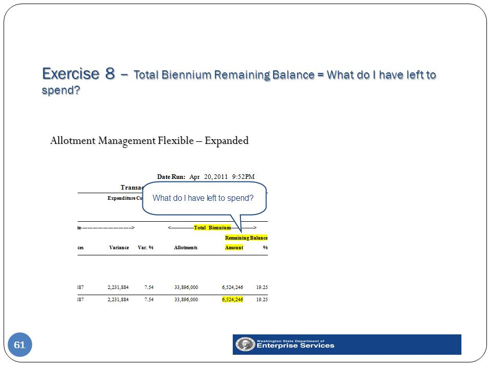 Exercise 8 – Total Biennium Remaining Balance = What do I have left to spend.