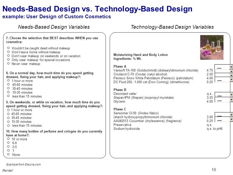 10 Randall Needs-Based Design vs.