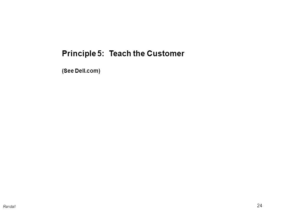 24 Randall Principle 5: Teach the Customer (See Dell.com)
