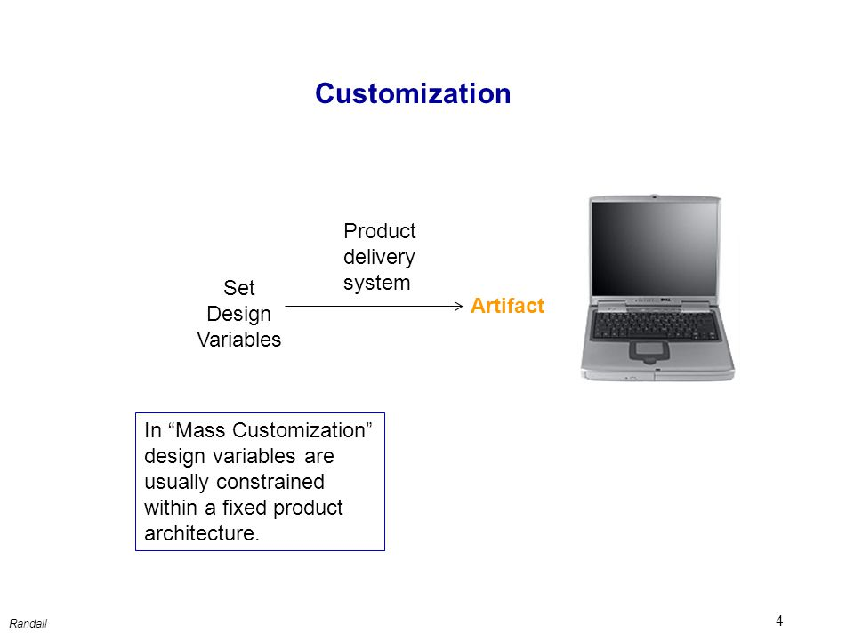 4 Artifact Set Design Variables Product delivery system Customization In Mass Customization design variables are usually constrained within a fixed product architecture.