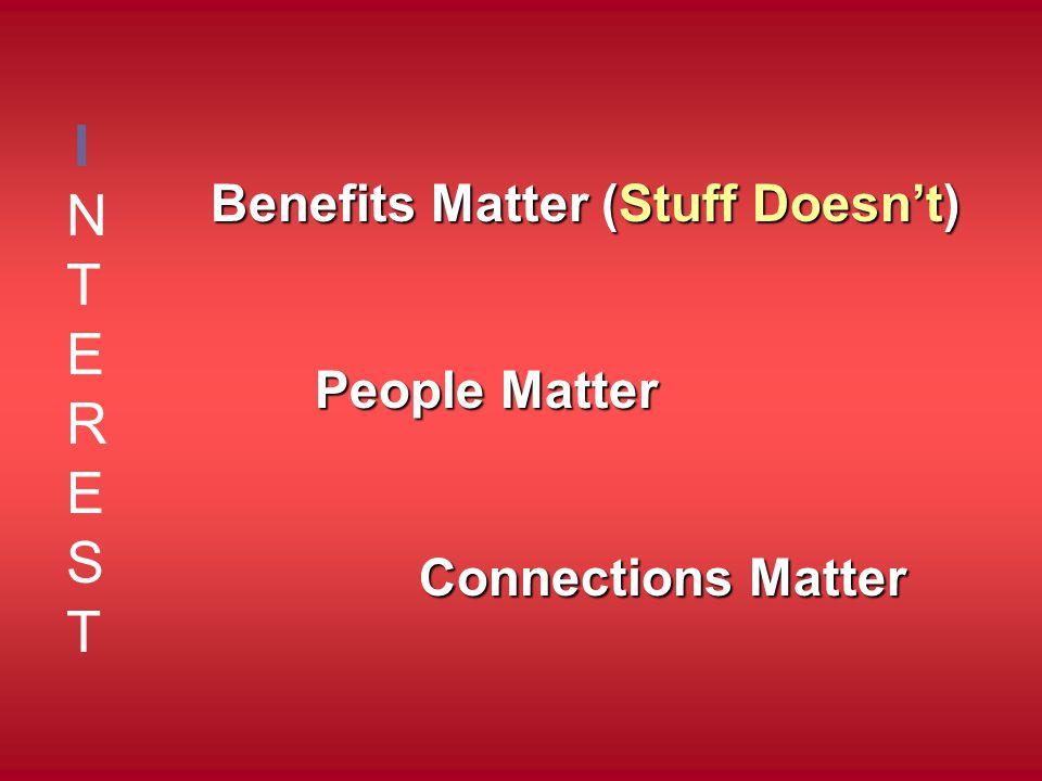 INTERESTINTEREST Benefits Matter (Stuff Doesn't) People Matter Connections Matter