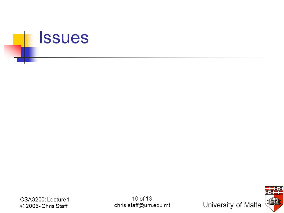10 of 13 chris.staff@um.edu.mt CSA3200: Lecture 1 © 2005- Chris Staff University of Malta Issues