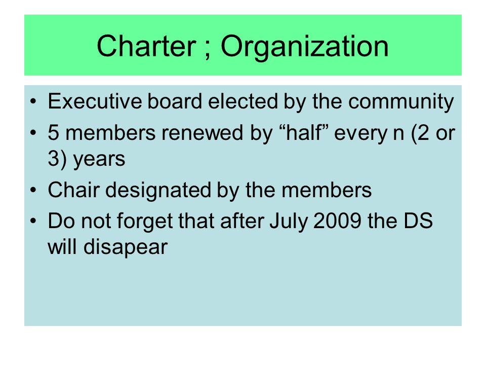 Charter ; Organization Executive board elected by the community 5 members renewed by half every n (2 or 3) years Chair designated by the members Do not forget that after July 2009 the DS will disapear