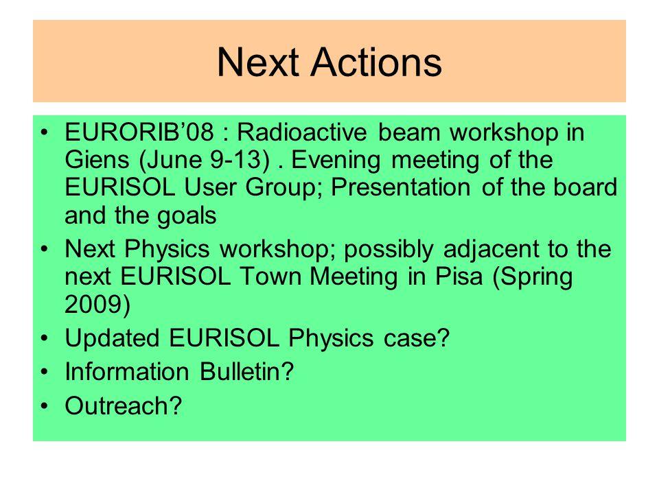 Next Actions EURORIB'08 : Radioactive beam workshop in Giens (June 9-13).