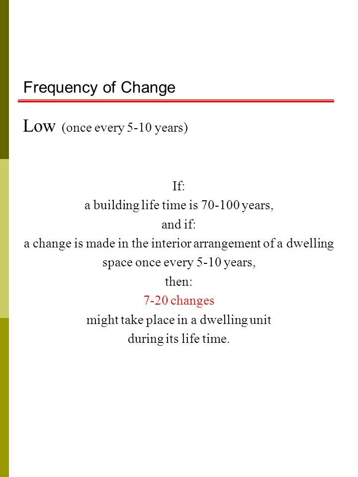 Frequency of Change Low (once every 5-10 years) If: a building life time is 70-100 years, and if: a change is made in the interior arrangement of a dwelling space once every 5-10 years, then: 7-20 changes might take place in a dwelling unit during its life time.