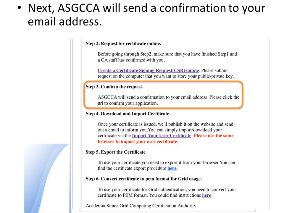 Next, ASGCCA will send a confirmation to your email address.