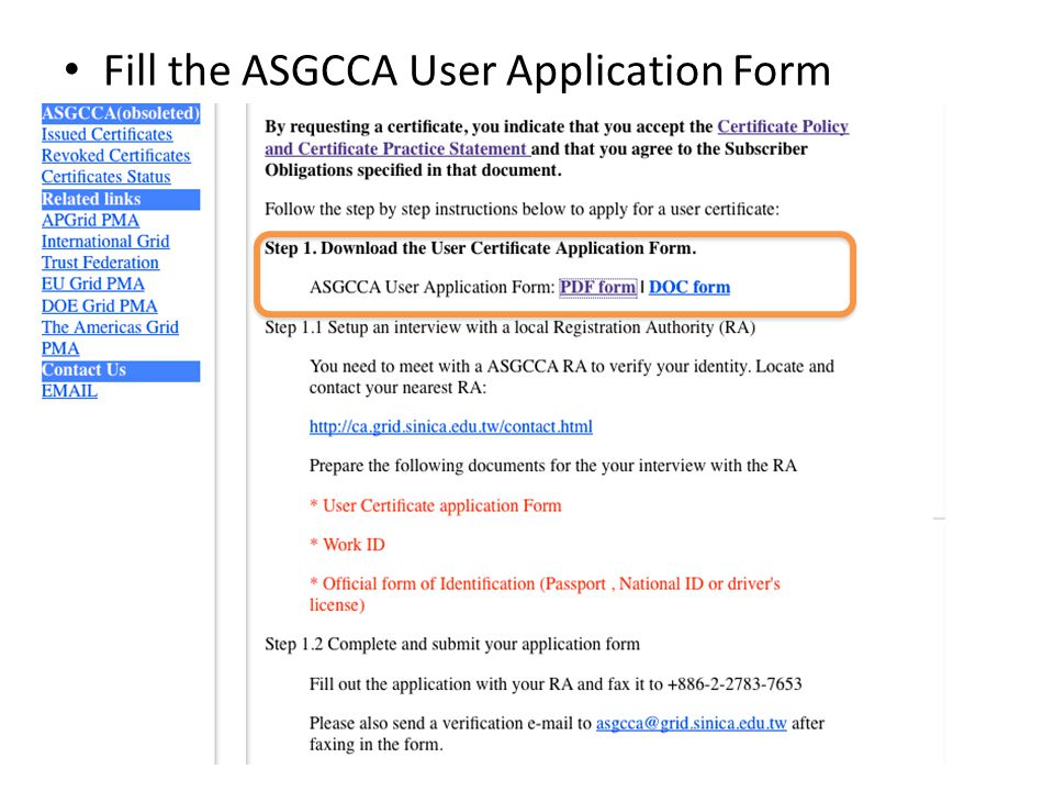 Fill the ASGCCA User Application Form