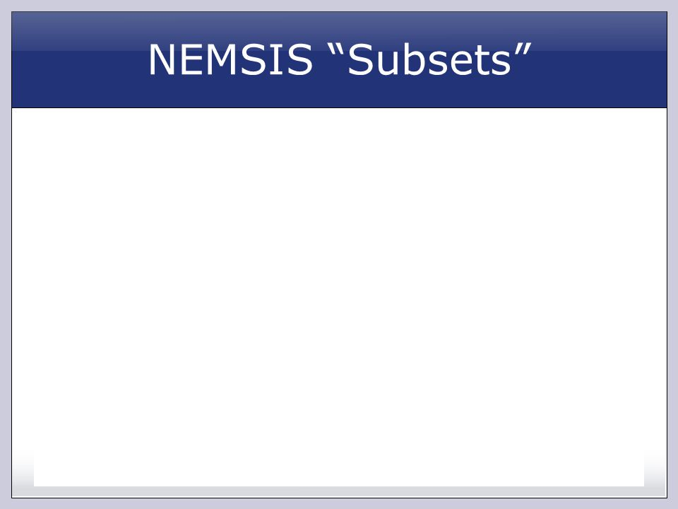 NEMSIS Subsets