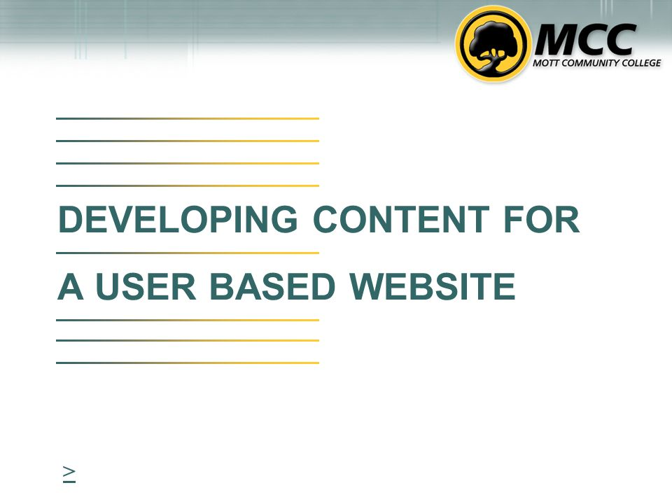 DEVELOPING CONTENT FOR A USER BASED WEBSITE >