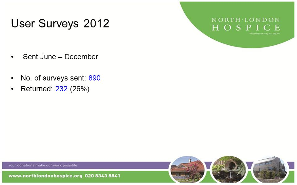 User Surveys 2012 Sent June – December No. of surveys sent: 890 Returned: 232 (26%)