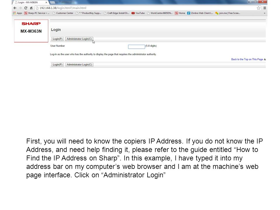 First, you will need to know the copiers IP Address.
