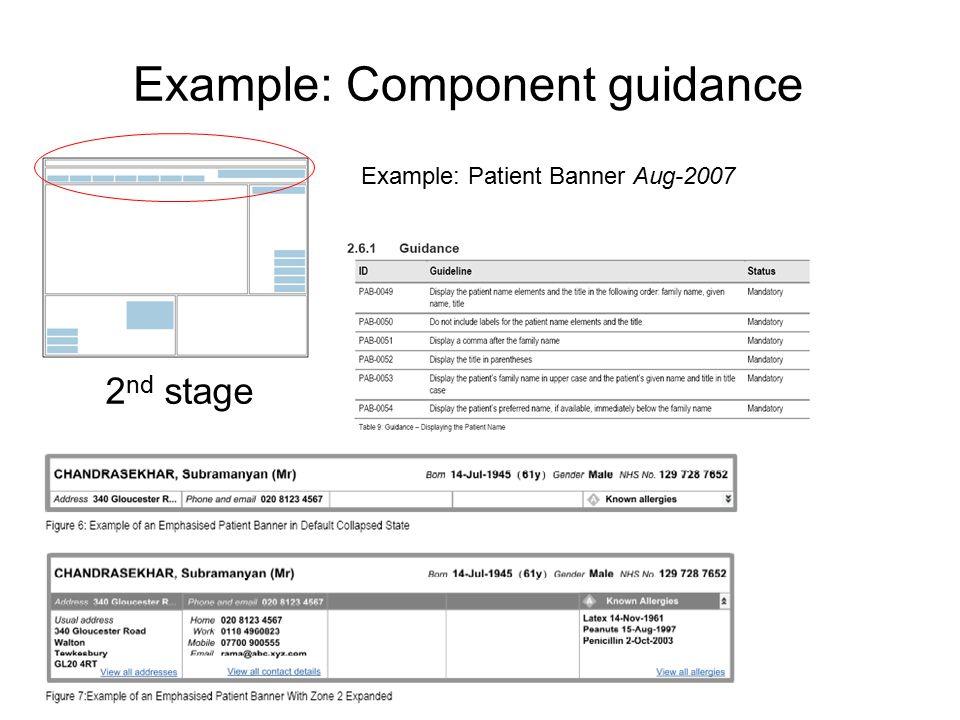 Example: Component guidance 2 nd stage Example: Patient Banner Aug-2007