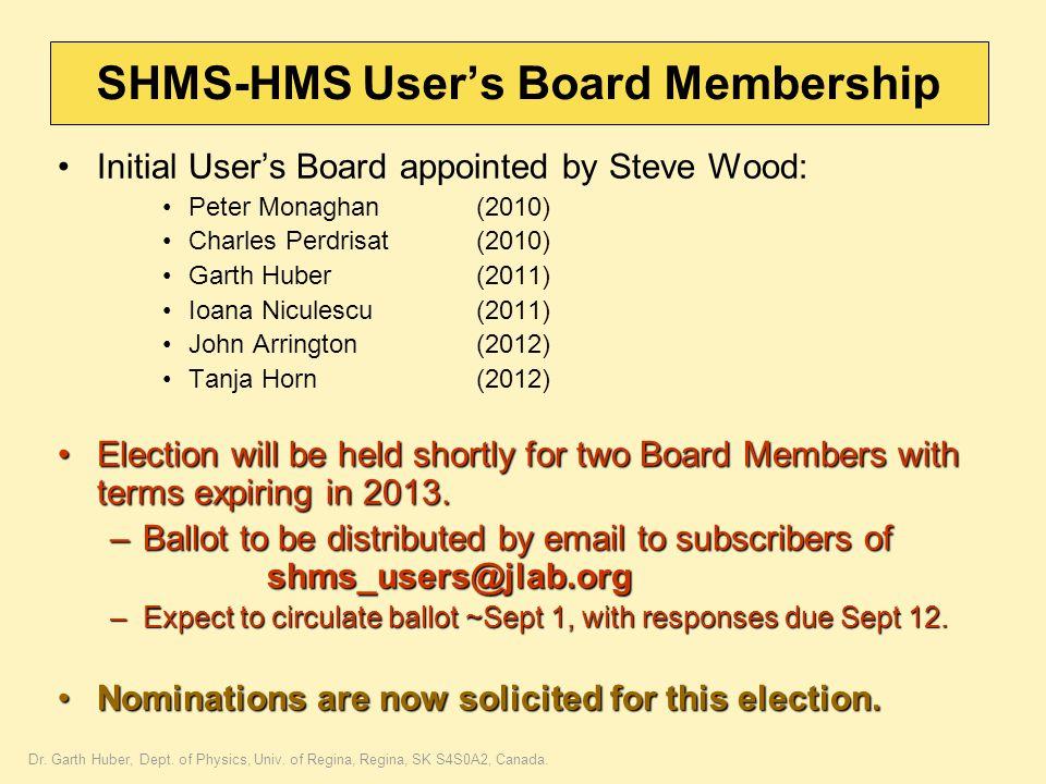 Dr. Garth Huber, Dept. of Physics, Univ. of Regina, Regina, SK S4S0A2, Canada. SHMS-HMS User's Board Membership Initial User's Board appointed by Stev