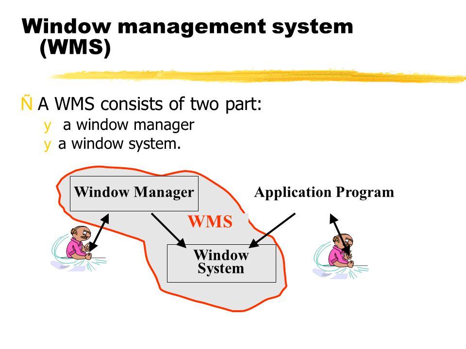 Window management system (WMS) ÑA WMS consists of two part: y a window manager ya window system. Window System Window ManagerApplication Program WMS