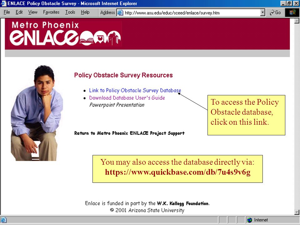 4 To access the Policy Obstacle database, click on this link.