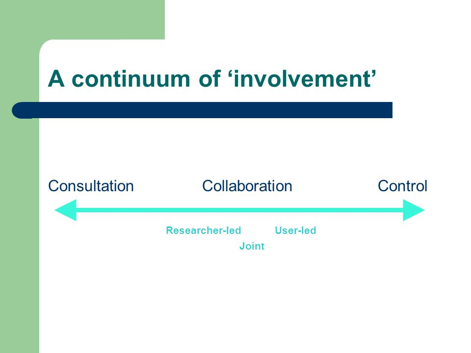 A continuum of 'involvement' Consultation Collaboration Control Researcher-led User-led Joint
