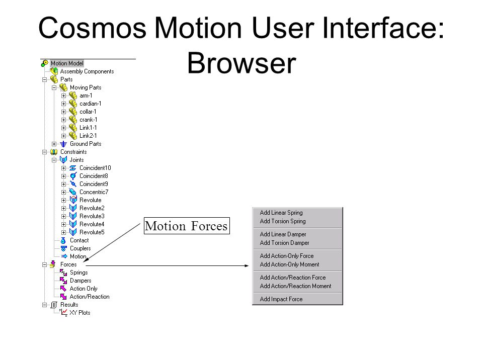 Cosmos Motion User Interface: Browser Motion Forces