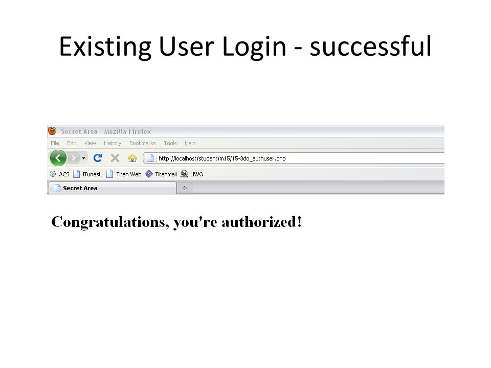 Existing User Login - successful