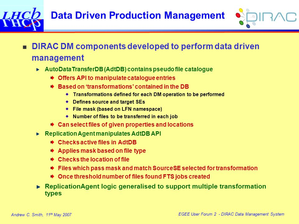Andrew C. Smith, 11 th May 2007 EGEE User Forum 2 - DIRAC Data Management System DIRAC DM components developed to perform data driven management AutoD
