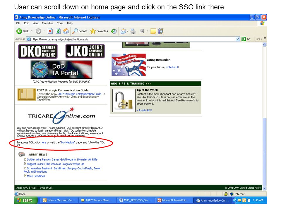 User can scroll down on home page and click on the SSO link there