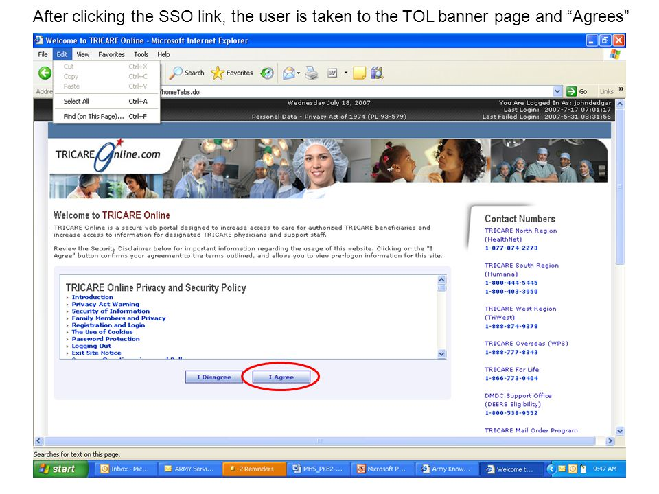 After Agreeing , the user is presented with their TOL home page