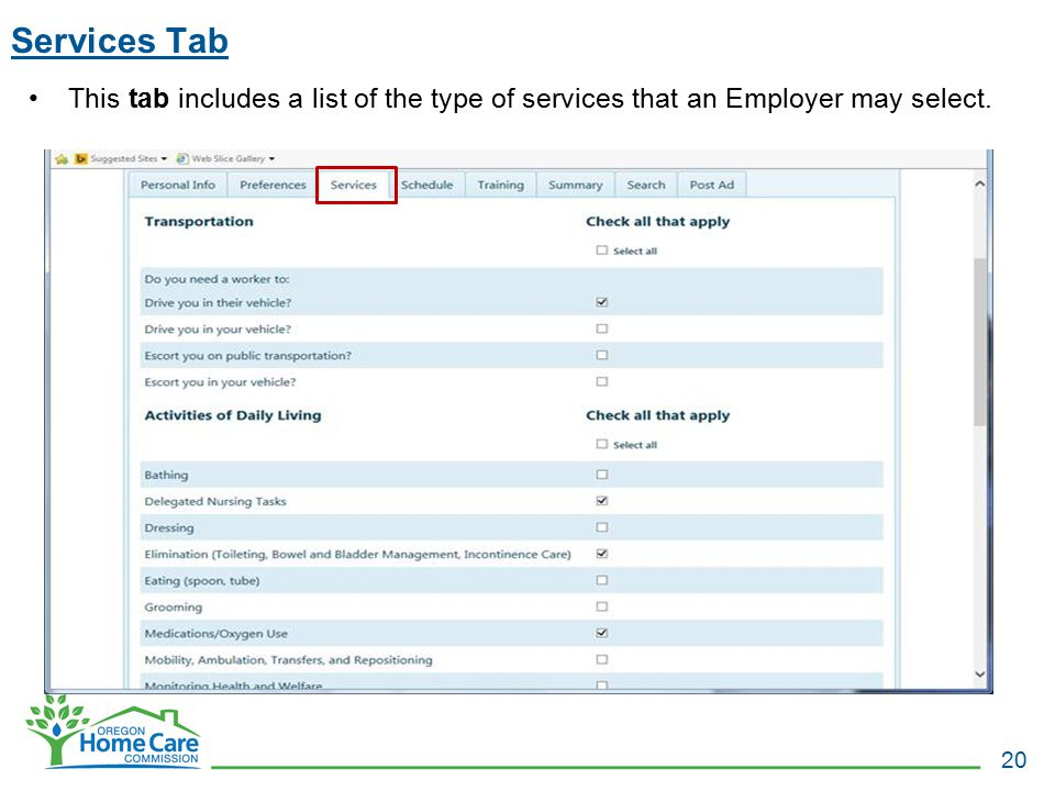 Services Tab 20 This tab includes a list of the type of services that an Employer may select.