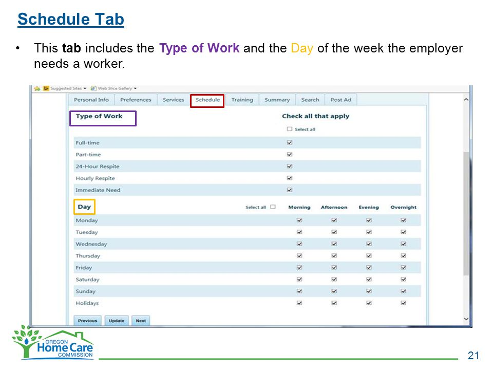 Schedule Tab 21 This tab includes the Type of Work and the Day of the week the employer needs a worker.