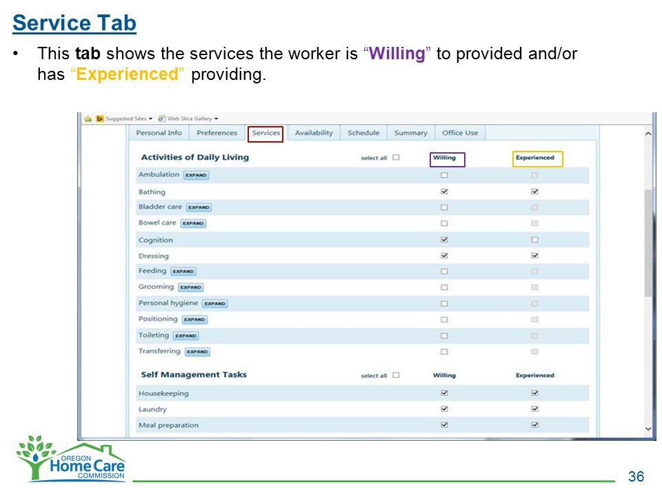 "Service Tab 36 This tab shows the services the worker is ""Willing"" to provided and/or has ""Experienced"" providing."