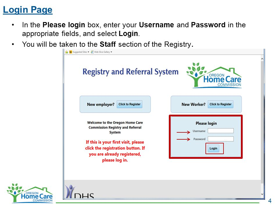 Login Page 4 In the Please login box, enter your Username and Password in the appropriate fields, and select Login. You will be taken to the Staff sec