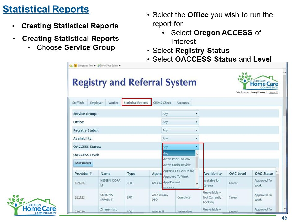 Statistical Reports 45 Creating Statistical Reports Choose Service Group Select the Office you wish to run the report for Select Oregon ACCESS of Inte