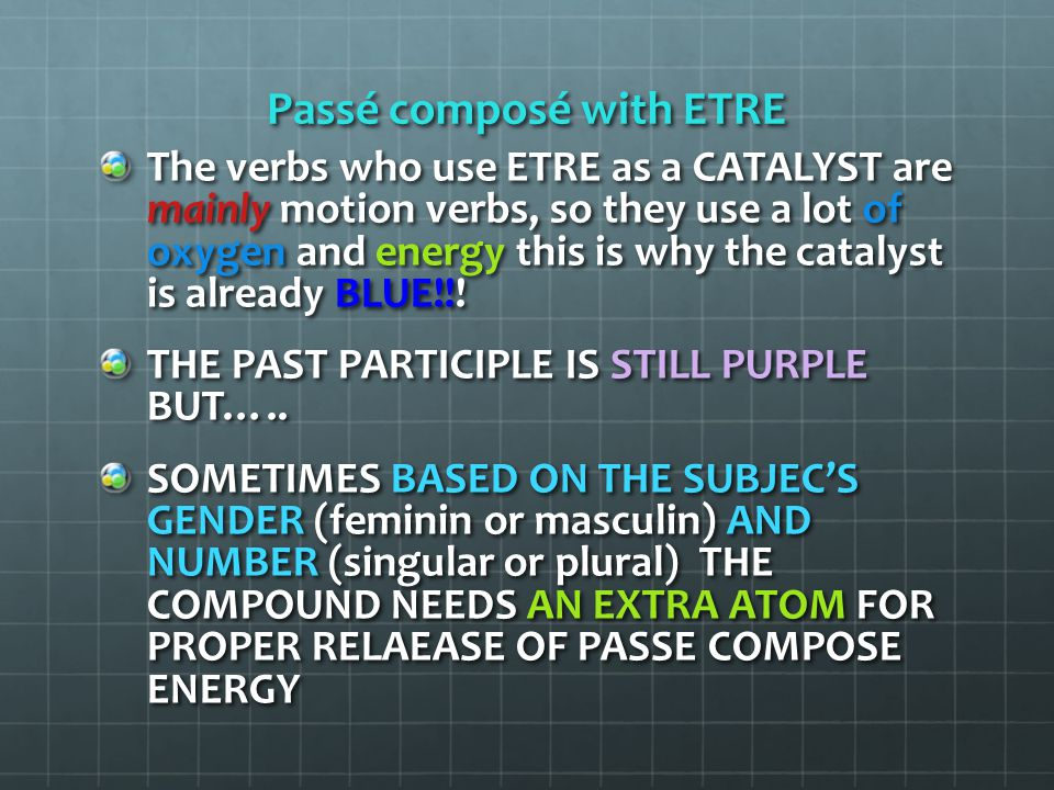 Passé composé with ETRE Then the molecule of Passé Composé bonds with an extra chlorophyl atom (GREEN) to gain energy and to create a complete past action.