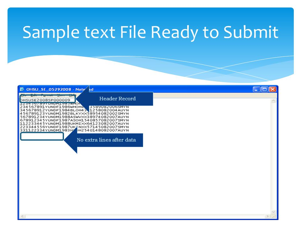 Sample text File Ready to Submit Header Record No extra lines after data