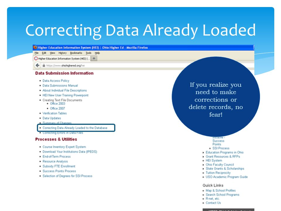 Correcting Data Already Loaded If you realize you need to make corrections or delete records, no fear!