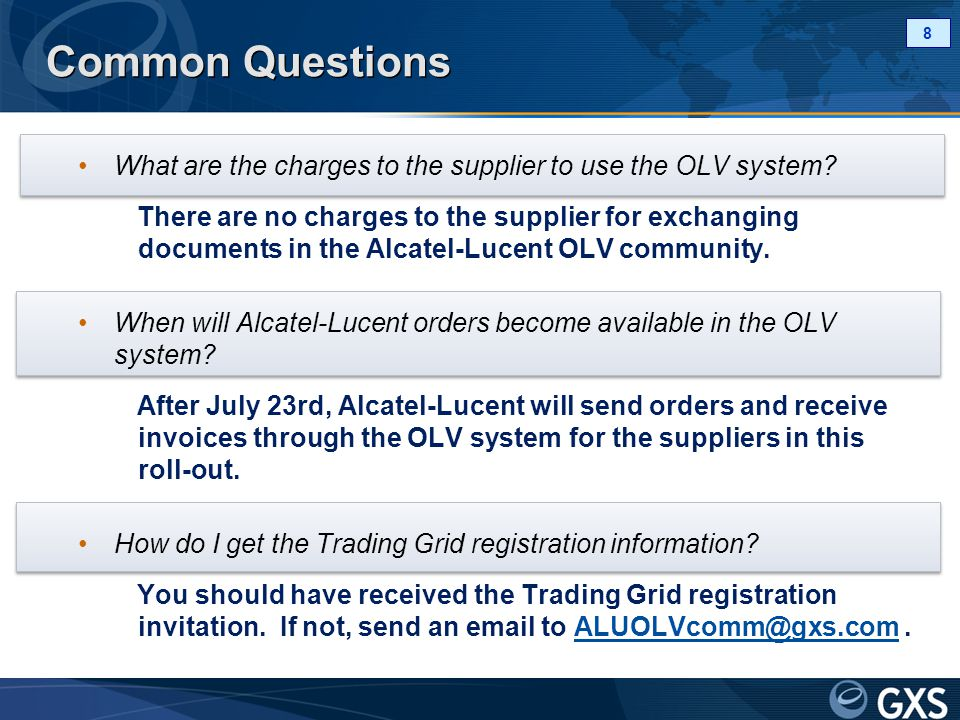 Common Questions What are the charges to the supplier to use the OLV system.