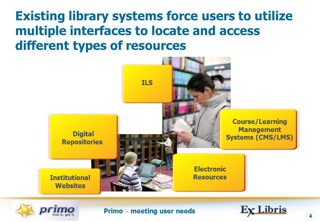 Primo – meeting user needs 4 Existing library systems force users to utilize multiple interfaces to locate and access different types of resources Electronic Resources ILS Digital Repositories Course/Learning Management Systems (CMS/LMS) Institutional Websites