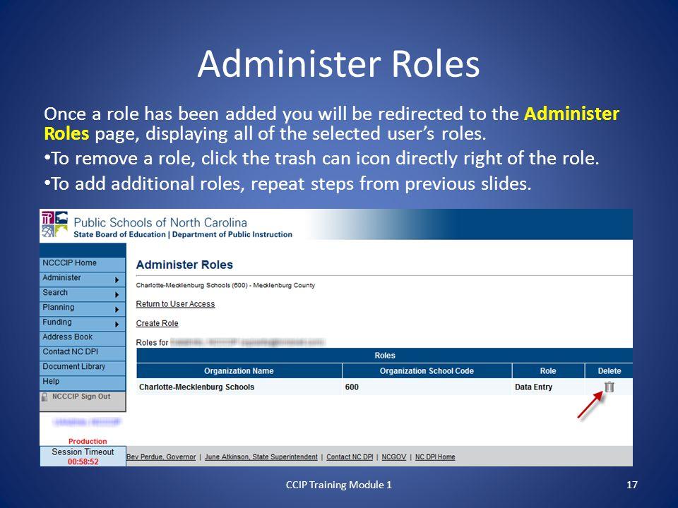 Administer Roles Once a role has been added you will be redirected to the Administer Roles page, displaying all of the selected user's roles.