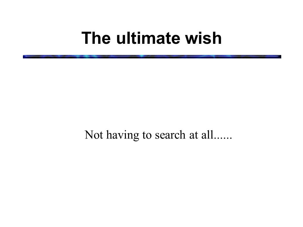 The ultimate wish Not having to search at all......