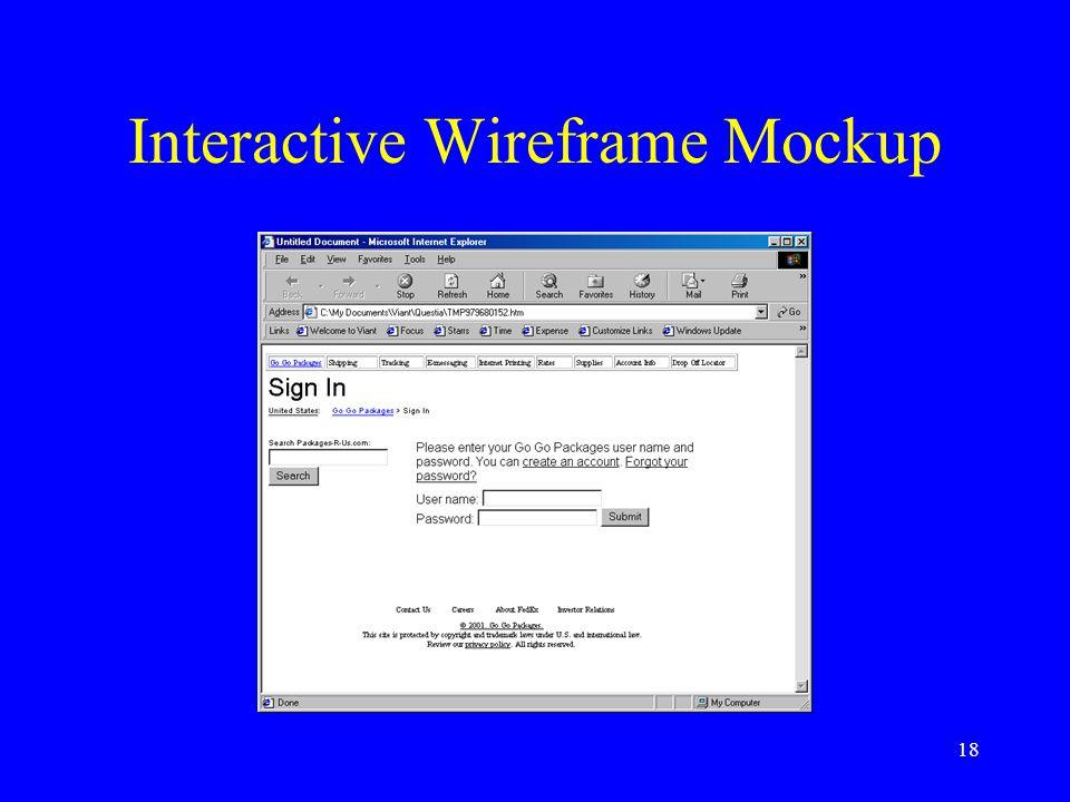 18 Interactive Wireframe Mockup