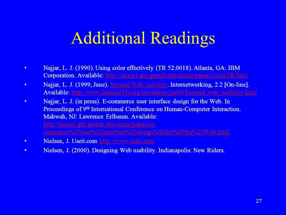 27 Additional Readings Najjar, L. J. (1990). Using color effectively (TR 52.0018). Atlanta, GA: IBM Corporation. Available: http://mime1.gtri.gatech.e