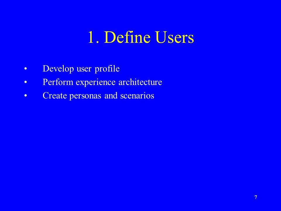 7 1. Define Users Develop user profile Perform experience architecture Create personas and scenarios