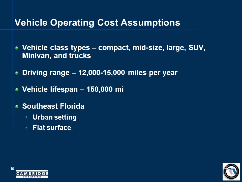16 Vehicle Operating Cost Assumptions Vehicle class types – compact, mid-size, large, SUV, Minivan, and trucks Driving range – 12,000-15,000 miles per