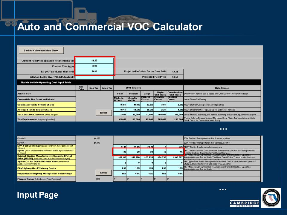 Auto and Commercial VOC Calculator Input Page … …