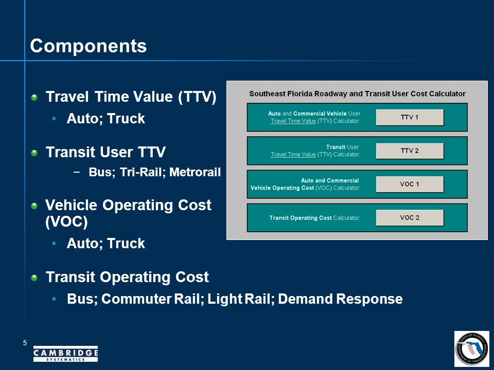 Components Travel Time Value (TTV) Auto; Truck Transit User TTV −Bus; Tri-Rail; Metrorail Vehicle Operating Cost (VOC) Auto; Truck Transit Operating Cost Bus; Commuter Rail; Light Rail; Demand Response 5