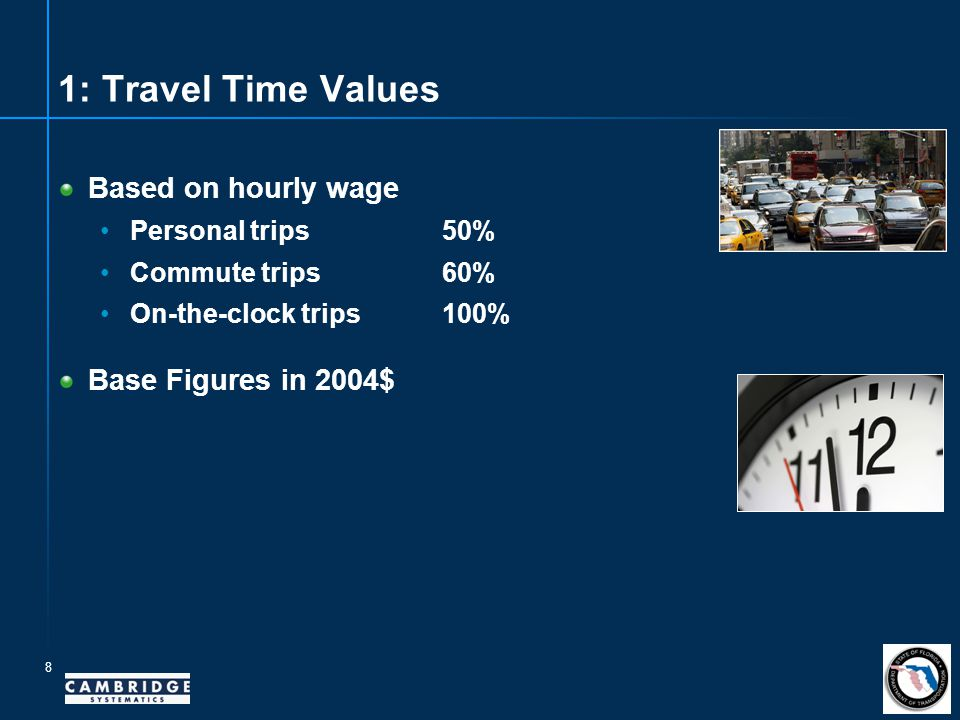 8 1: Travel Time Values Based on hourly wage Personaltrips50% Commute trips60% On-the-clock trips100% Base Figures in 2004$