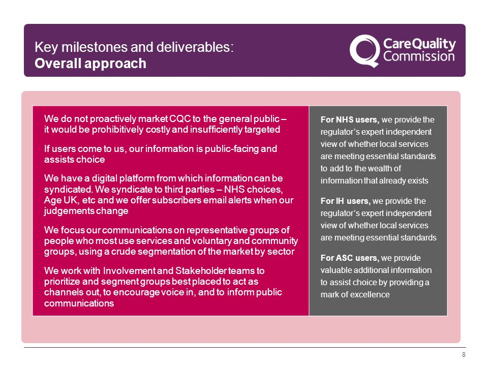 8 Key milestones and deliverables: Overall approach We do not proactively market CQC to the general public – it would be prohibitively costly and insufficiently targeted If users come to us, our information is public-facing and assists choice We have a digital platform from which information can be syndicated.