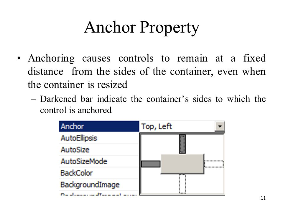 Anchor Property Anchoring causes controls to remain at a fixed distance from the sides of the container, even when the container is resized –Darkened bar indicate the container's sides to which the control is anchored 11