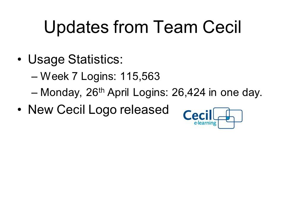 Updates from Team Cecil Usage Statistics: –Week 7 Logins: 115,563 –Monday, 26 th April Logins: 26,424 in one day.