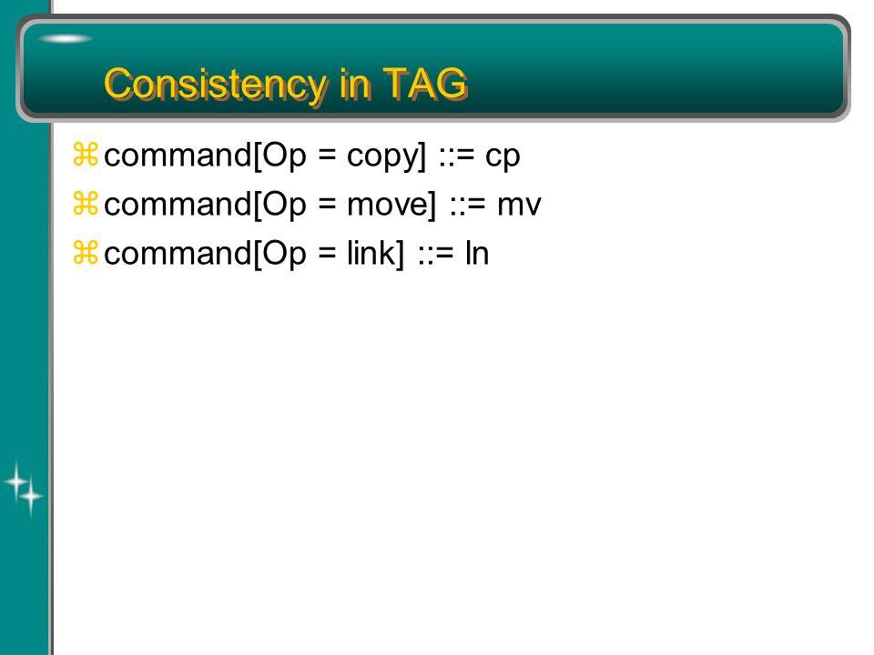 Consistency in TAG zcommand[Op = copy] ::= cp zcommand[Op = move] ::= mv zcommand[Op = link] ::= ln