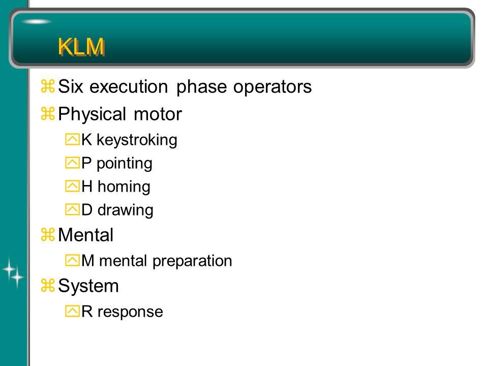 KLM zSix execution phase operators zPhysical motor yK keystroking yP pointing yH homing yD drawing zMental yM mental preparation zSystem yR response