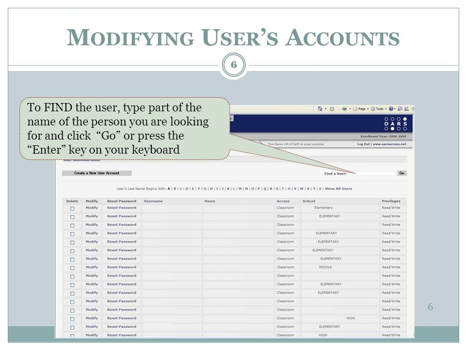 Select the person whose account you want to change by clicking on the Modify link next to their name.